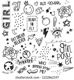Big vector black and white set of cute sketches, doodles, tattoo, hand drawn stickers, patches, handwritten letterings, icons, pins, useful elements for fashion design, body art isolated on white