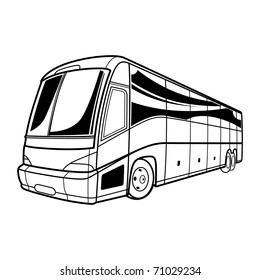 Big vector black and white transport tourist Bus