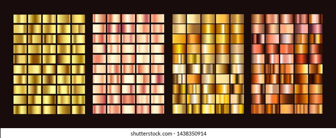 Big vector collection of colorful gradients colorful metallic gradients consisting backgrounds. Vector.