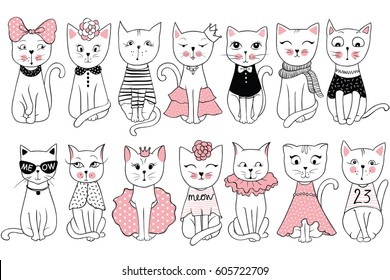 Big Vector collection with cute fashion cats. Stylish kitten set. Trendy illustration in sketch style  t-shirt print, cards, poster. Doodle Kitty. Kids animals series. Funny character.