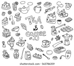 Big vector collection of doodle tea and coffee. Equipment and dessert, spoon, sweets, cake, cup, teapot, bakery and cookery. Outline. Back and white.