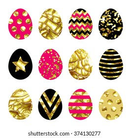 Big vector collection with easter eggs. Gold paint with crack effect.
