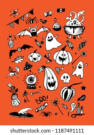 Big vector collection of Halloween elements, including pumpkins, mushrooms, sweets, skulls, bats, poison, ghosts. Vector illustration. Good for cards, sticker sets, prints on fabric