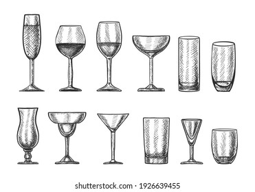 Big vector collection of hand drawn cocktail glasses for different drinks.