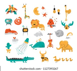 Big vector collection set of cute sleeping animals and objects in cartoon style. Parrot, giraffe, ostrich, fish, snake, lion, owl, elk, dog, cat, rabbit, cat, mouse, jellyfish, whale, monkey, elephant