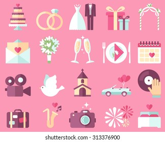 Big vector collection of wedding icons on pink background. Flat style.