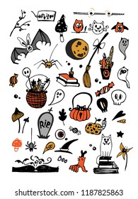 Big vector colorful set with Halloween elements, including pumpkins, mushrooms, sweets, skulls, bats, poison, ghosts. Vector illustration. Good for cards, sticker sets, prints on fabric
