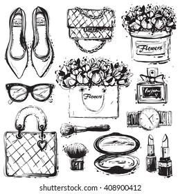 Big vector fashion black and white sketch set. Hand drawn graphic shoes bag, makeup brush lipstick, powder, wrist watch, perfume, flower box, eye glasses, flowers. Fashion illustration kit vogue style