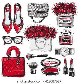 Big vector fashion sketch set. Hand drawn graphic shoes, bag, makeup brush, lipstick, powder, wrist watch, perfume, flower box, eye glasses, flowers. Trend glamour fashion illustration kit vogue style
