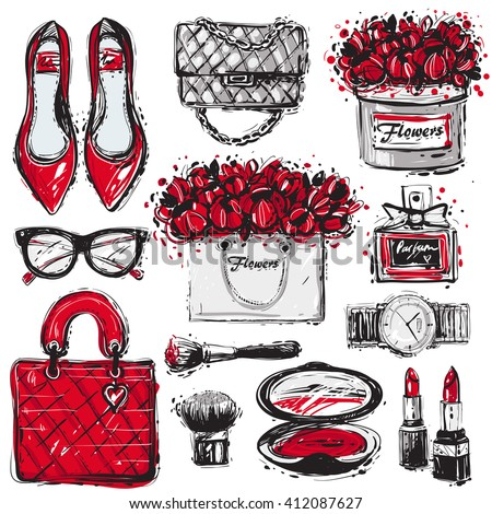 11774040b9fa Big Vector Fashion Sketch Set Hand Stock Vector (Royalty Free ...