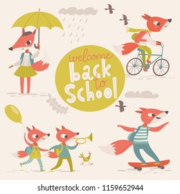 Big vector flat welcome back to school designs with cartoon animals. Cute foxes.