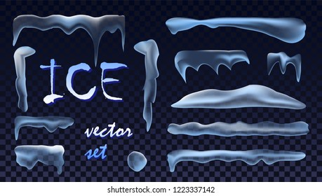 Big Vector Ice  Set isolated on transparent background. Caps, Heaps,  Icicles Pile. Holyday Happy New Year 2019 Christmas Cold Winter Style. Greeting Card Design. Ice Texture. Vector Illustr