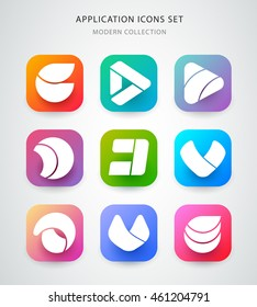 Big vector icons set for application logo icon design. App icon design. Material design.
