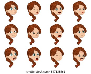 Big Vector Illustration set of cute little girl faces showing different emotions