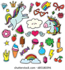 Big vector isolated set with animals, characters and things. Hand-drawn stickers, pins, emoji in cartoon 80s-90s comics style doodle with unicorns, rainbows, stars, gems, lollipops, hearts.