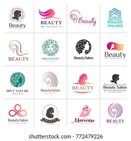 Big vector logo set for beauty salon, hair salon, cosmetic