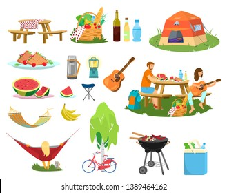 Big vector picnic set. Plates with food, picnic basket, couple having picnic, berbeque, cooler bag, bike near birch, guitar, thermos, drinks, woman relaxing in hammock, tent.