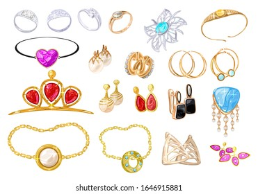 Big vector realistic set with assortment of jewelry, bijouterie, fashion shops, wedding salons. Golden. platinum, silver rings, bracelets, brooches, charms, earrings, pendants circlets tiaras gems