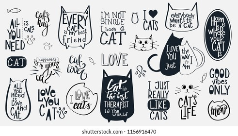 Big Vector Set with 21 Motivational quotes about cats. Hand written sign for every design production.