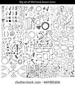 Big VECTOR set of 494 hand drawn business black icons on white background.