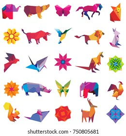 Big vector set of animal origami figures