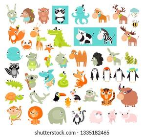Big vector set of animals.