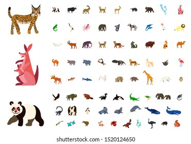 Big vector set with animals in cartoon style. Vector collection with mammals.