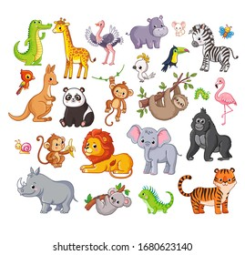 Big vector set with animals in cartoon style. Vector collection with mammals on a children's theme.