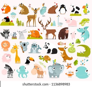 Big vector set of animals. cow, alligator, bear, panda, penguin, octopus, koala, cartoon characters, zebra, animal logo, fox, pig, deer, monkey, rabbitgiraffe, whale, forest animals. vector animals