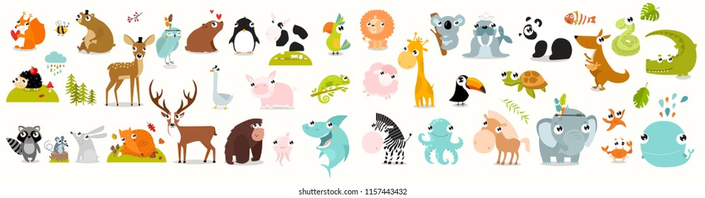 Big vector set of animals. cow, alligator, bear, panda, penguin, octopus, koala, cartoon characters, zebra, animal logo, fox, pig, deer, monkey, rabbitgiraffe, whale, forest animals. vector animals
