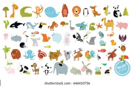 Big vector set of animals. cow, dog, alligator, bear, panda, penguin, octopus, koala, cartoon characters, zebra, animal logo, camel, fox, pig, deer, monkey, rabbit, woolf, giraffe, whale, palm