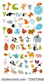 Big vector set of animals. cow, dog, alligator, bear, panda, penguin, octopus, koala, cartoon characters, zebra, animal logo, camel, fox, pig, deer, monkey, rabbit, woolf, giraffe, whale, palm