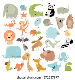 Big vector set of animals. The crocodile, elephant, bear, duck, panda, koala, lion, monkey, turtle, whale, shark, crab, fox, kangaroo, giraffe, bat, hedgehog, owl, snake, starfish, quail