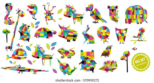 Big vector set of animals.Cartoon Animals. Bear, lion, monkey, elephant, the hedgehog, the crocodile, parrot, rabbit,koala, giraffe, whale, owl, lizard,turtle. Tropical animals African.