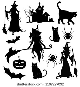 big vector set of attributes for Halloween isolated.  Black silhouettes with witches, cats, bats, spider