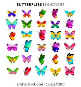 Big vector set of beautiful bright and colorful butterflies. Cute butterflies.  Vector illustration for your graphic design.