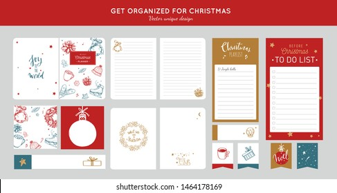 Big vector set of before Merry Christmas and new year organizer, planners, to do list, notebook, stickers, shopping list etc. Get organized for Christmas party. Hand drawn, cozy vintage style