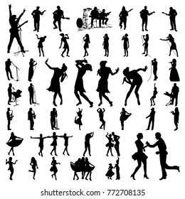 Big vector set of black musician silhouette
