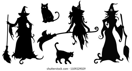 big vector set with black silhouettes of witches and cats on a white background. Illustration halloween