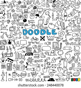 big vector set of business, social, technology, school, design elements doodle icons, hand drawn background, texture and pattern