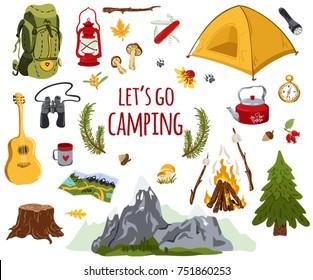 Big vector set of camping elements.