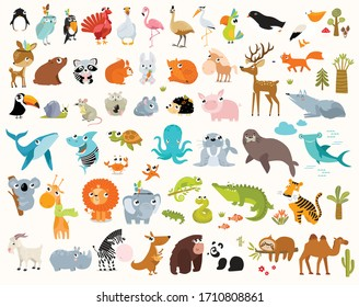 Big vector set of cartoon animals. Forest animals, tropical animals, sea animals.