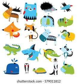Big vector set of cartoon animals.deer, bear, fox, tiger, zebra, lemur, pike, iguana