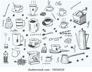 big vector set of coffee and tea