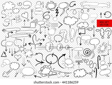 Big vector set of comic elements, hand drawn, arrows, doodle and comic blank text speech clouds in pop art style