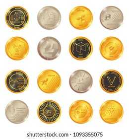 Big vector set of crypto currency logo gold, silver bronze coin: Lumens, Siacoin, Nem, IOTA, BitConnect, Gnosis, Bytecoin, Dash, Litecoin, Augur, Monero, Nem, Ethereum, Zcash, Stratis, Ripple, Bitcoin