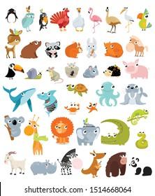Big vector set of different animals.