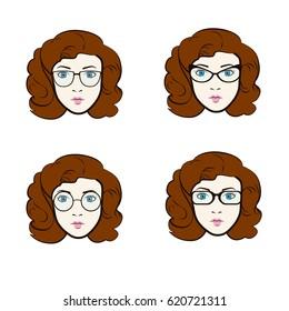 Big vector set of different women in trendy models of eyeglasses