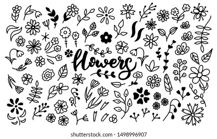 Big vector set of doodle flowers. A bunch of flowers. Branches, petals, flowering plants, and others. Black and white hand-drawn. A sketch of bouquets, romantic leaves. Isolated on white background.