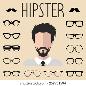 Big vector set of dress up constructor with different men hipster glasses, mustache in trendy flat style. Male faces icon creator.